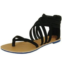 Amazon.com: Qupid Athena-566 Black Strappy Gladiator Flat Sandal: Shoes
