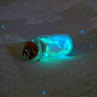 Magic Glowing Sand - Glow in the Dark Miniature Glass Bottle w/ Cork Lid - Glow Sand Moves in Bottle