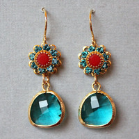 Teal Glass Floral Earrings on Luulla