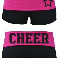 Juniors Two Tone Fold Over Cheer Spandex Shorts Pink or Turquoise