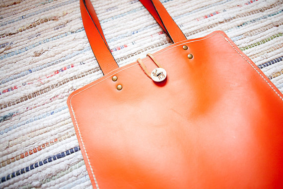 Orange Leather Tote Bag  Special Limited Edition by calfunk