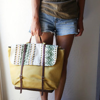 The Rucksack in Organic Honey Mustard Yellow Canvas by infusion