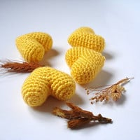 Yellow Amigurumi Crocheted Hearts Shabby Chic Heart by AllSoCute