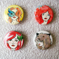Pretty Faces 2 125 Fridge Magnets Set of 4 by sacari on Etsy