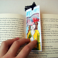 On A Rainy Day 2x5 Bookmark with Black Lace Ribbon by sacari