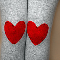 Red heart patched leggings in grey, size S/M
