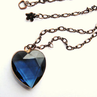 Beautiful Handmade Antique Blue Crystal Copper Pendant On Solid Copper Chain OOAK
