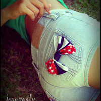 Vintage low rise American flag bow denim shorts by Jeansonly