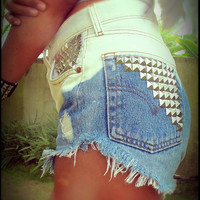 Vintage high waisted ombre studded denim cut off shorts by Jeansonly