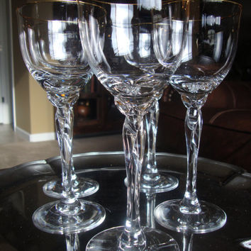 Set of 5 lenox crystal gold rim trim wine from tycaalak on etsy - Lenox gold rimmed wine glasses ...