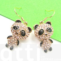 Panda Bear Animal Dangle Earrings in Gold with Rhinestones