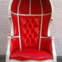 VALENTINE RED &amp; WHITE Porters Chair Domed by VENETIANSOCIETY