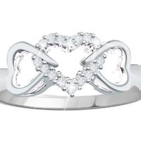 Sterling Silver 1/10ct Natural Diamond Triple Hearts Promise Ring (Size 6 to 10)