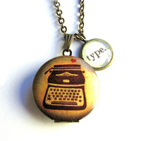 Typewriter Locket Type Love Writing Word Mini Pendant Brass Setting Library Card Necklace One of a Kind
