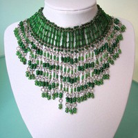 Necklace vintage bib bead green glass seed bugle fringe choker collar