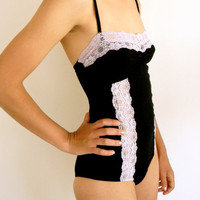 Black Knit Bodysuit with Lavender Lace Detail by georgiajshop
