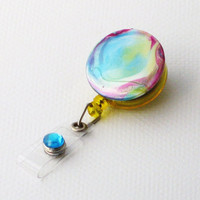 Colorful Tie Dye Turquoise Green Yellow Pink Purple Badge Reel by BadgeBlooms