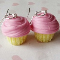 pretty pink cupcake earrings by ScrumptiousDoodle on Etsy