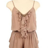 Brown Sleeveless Romper with Ruffle and Stud Detail
