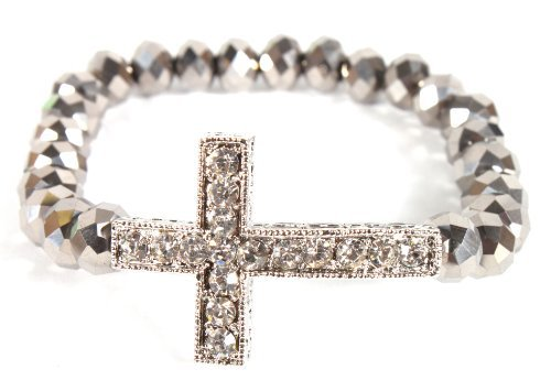 Grey Shamballah Stretch Bracelet with an Iced Out Cross Charm and 25 Glass Beaded Balls