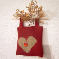 Fabric Wall Hanging Organizer  Rustic Red by handjstarcreations