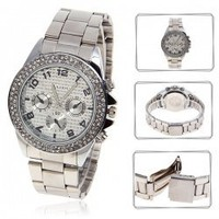Stylish 58878 Arabic Numerals Indicate Time Steel Quartz Wrist Watch with Rhinestone Decoration - Silver Hot Sale At Wholesale Price - Gadgetsdealer.com