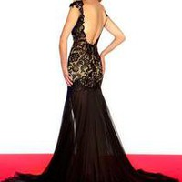Lace Cap Sleeves Black Prom Pageant Dresses Formal Dress Red Carpet Evening Slit