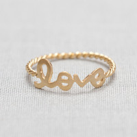 LOVE Word Ring In Gold on Luulla