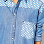 ASOS Denim Boyfriend Shirt with Spot Print Applique at asos.com