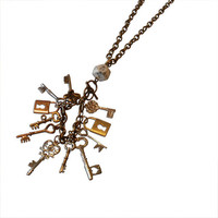 Steampunk Chainlink and Keys Charm Necklace