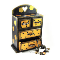 Gold polka dot in black  Trinket Box  chest of by InsideTheHouse
