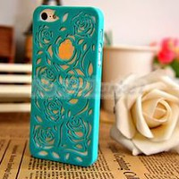 Lake Blue Flower Rose Hollow Design Ultra Thin Plastic Case Cover for iPhone 5