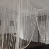 White Four Corner Bed Canopy Mosquito Net Bed Netting Queen King