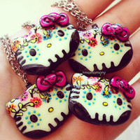 Cute Hello Kitty Mexican Sugar Skull Necklace by momomony on Etsy