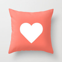 Peach Heart Throw Pillow by Rex Lambo | Society6