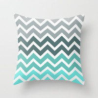 Tiffany Fade Chevron Pattern Throw Pillow by Rex Lambo | Society6
