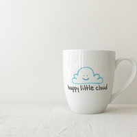"Cloud Mug - Bob Ross inspired Cloud Coffee Cup - ""Happy Little Cloud"" with Turquoise Smiling Cloud"