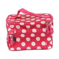 DEDC Double Layer Cosmetic Bag Pink with white Dot Travel Toiletry Cosmetic Makeup Bag Organizer Wi