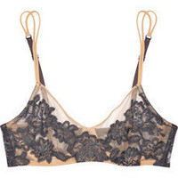 La Perla | Lace-appliquéd stretch-mesh underwired bra | NET-A-PORTER.COM