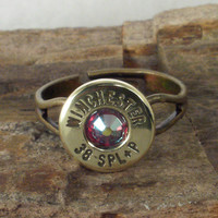 Bullet Ring  Winchester 38 SPL   Red AB Crystal by ShellsNStuff