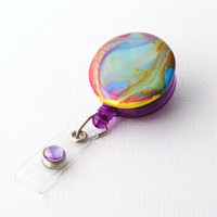 Colorful Rainbow Swirl Designer Hand Painted Badge Holder by BadgeBlooms