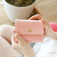 Fallindesign | Iconic pink leather card, cash, coin pocket wallet billfold