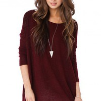 Cozy Long Sleeve Sweater in Wine - ShopSosie.com