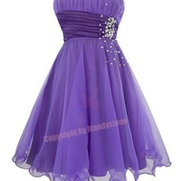 Trendy Chiffon Gem Sequins Folded Wavy Hem Prom Dresses L Purple