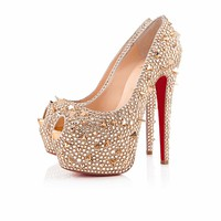 HIGNESS POT POURRI STRASS 160 mm, Strass, CRYSTAL GOLD, Women Shoes.