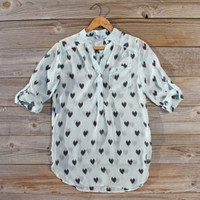 Stitched Hearts Blouse, Sweet Cozy Lace Tops