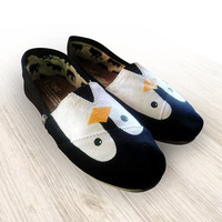 Custom Painted Penguin Toms Shoes by TomsByHeather on Etsy