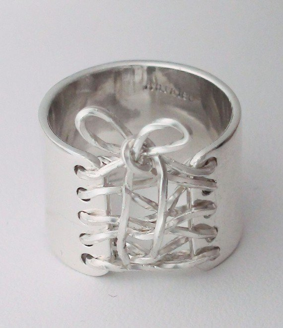 Sterling Silver Wide Band Corset Ring Valentines Day by SecretAura