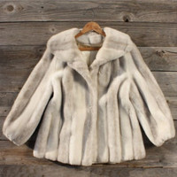 Vintage Faux Arctic Fox Fur Coat, Sweet Vintage Rugged Clothing