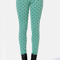 Save Me a Spot Teal Polka Dot Skinny Pants